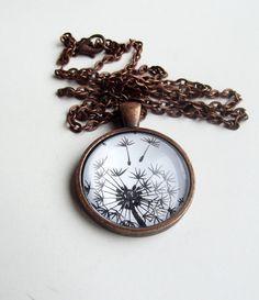 $18 Dandelion , Hand Painted Pendant, Dandelion Necklace, Wearable Art, Original  Ink Drawing