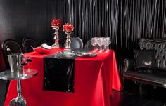 Silvertex table clothes. Satin table cloth  Concept black& red