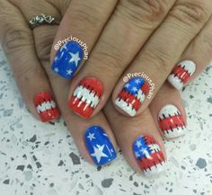 Raggedy Ann, red white and blue, 4th of July nails