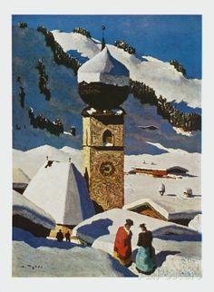The Church of Aurach - Tyrolian Village Travel Art Print - 39 x 53 cm Vintage Ski, Vintage Travel Posters, Kunst Online, Painting Snow, Classic Paintings, Chapelle, Cool Posters, Landscape Art, Landscape Posters