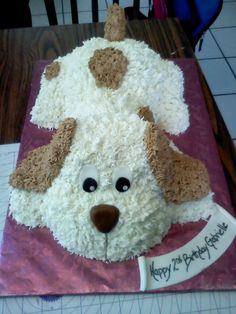 www.facebook.com/nikkiscreativeconfections puppy cake buttercream piping stuffed animal soft cute It looks like my daughter's dog tater tot.