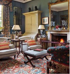 Rooms with rugs, blue walls, handsome interiors, traditional, textiles, layered interiors, mixed masterpieces, world of interiors,
