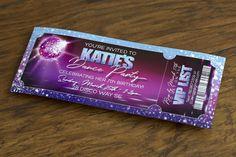 Katie's Dance Party Custom Birthday, Disco Ball, Ticket, Sparkle, Purple - Alex Tebow Designs