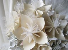 Origami wedding bouquet with tulle and pearls