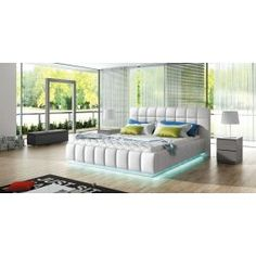 Description:PRATO is a stunning platform bed in white leatherette that will add style and character to your bedroom. Features a square tufted high headboard and upholstered footboard, built-in LED. Upholstered Panels, Furniture, Home, Home Furniture, Upholstered Storage, Bed Sizes, Bedroom Design, Mattress, Platform Bed