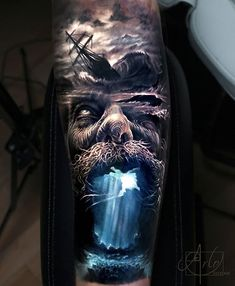 Tattoo photo - Poseidon tattoo by Arlo Tattoos Arlo Tattoo, Kurt Tattoo, Hai Tattoos, Body Art Tattoos, Tattoos For Guys, Portrait Tattoos, Tattoos Skull, Best Sleeve Tattoos, Tattoo Sleeve Designs