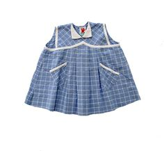 FRENCH VINTAGE 50's / kids / blouse / tunic / blue and white checkered cotton / new old stowk / size 1 year on Etsy, $42.76