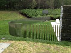 Stainless Steel Fence For A Chic Exterior Design! Backyard Playhouse, Ponds Backyard, Backyard Games, Pond Design, Fence Design, Outdoor Play Areas, Outdoor Structures, Steel Fence, Front Yard Fence