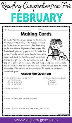 Reading comprehension daily passages. If you are looking for fun activities to help your students with reading comprehension strategies, check out this packet of daily passages for the month of February. Valentine's Day, Groundhog Day, President's Day. Each worksheet has a short story with an illustration and 5 comprehension questions. Great for advanced 1st grade, 2nd grade, and 3rd grade extra practice. Kids enjoy reading these fun stories while improving their skills.