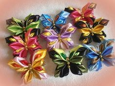 (5) DIY how to make a butterfly 3d from satin ribbon, kanzashi tutorial - YouTube