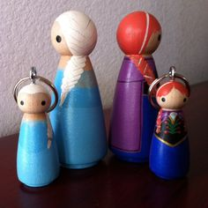 Frozen Princess Anna and Queen Elsa -  Pegbuddies Peg Doll People Birthday Cake Topper or Keychain
