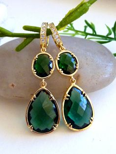 Emerald Green Large Peardrop and Oval Quartz with by JCGemsJewelry, $42.00