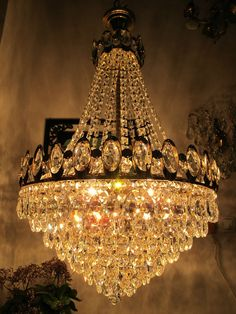Vintage Very French Huge Basket Style Crystal Chandelier Lamp Light Lustre 1960s in Antiques, Home, Furniture & DIY | eBay