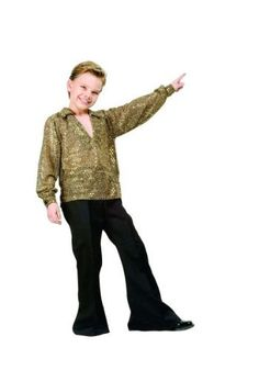 Boys Disco Fever Gold Kids Costume size Medium 8-10 by RG Costumes. $24.66. Material:: Polyester. polyester. Pictured items not included:: Shoes. :. Item Includes:: Gold Sequin Shirt and Black Pants. Available in Sizes:: Small, Medium and Large. For that fever night we all call Halloween, accept no substitutes: The Gold Boy's Disco Fever Costume is the costume for you. You'll be sure to stay alive with this retro outfit. Sure the kid who wears this costume wasn't alive whe...