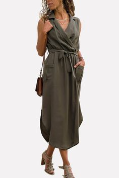 529e2cdf5dfa Women Army-green Wrap Tied Pocket Slit Hem Sleeveless Casual Dress - L