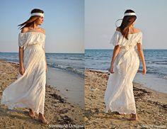 Boho novia vestido vestido de Novia de Marfil por SuzannaMDesigns