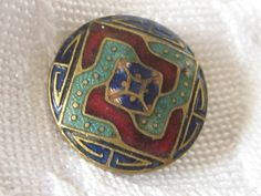 VINTAGE Enamel on Metal BUTTON by abandc on Etsy