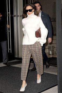 0ee4fcec68 Victoria Beckham style - white roll neck sweater with heritage tweed  trousers Alaska Fashion
