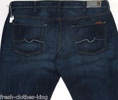 7 FOR ALL MANKIND Jeans New Mens $198 Blue The Straight Fit Denim Size 40 x 35