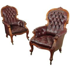 Pair of Victorian Mahogany and Burgundy Leather Gentleman's Library Armchairs For Sale