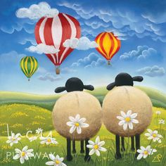 Brighten up a children's bedroom with colourful wall art from Lucy Pittaway. A Cheeky Escape depicts two sheep in a green daisy filled field gazing at red and yellow hot air balloons. Blue Living Room Decor, Living Rooms, Sheep Art, Earth Design, Tile Murals, Office Art, Chalk Art, Fine Art Paper, Art For Kids