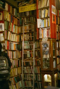 The Abbey Bookshop, Paris, France (not only do they have this charmingly labelled poet's corner, the Canadian owner will offer you coffee sweetened with maple syrup while you browse) I love this idea! Shakespeare And Company, Home Libraries, Coffee And Books, Library Books, Dream Library, Reading Books, Book Nooks, I Love Books, My Happy Place