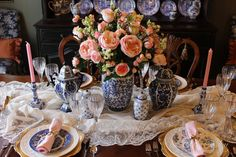 A Pink and Blue Tablescape to Welcome Spring - Belle Bleu Interiors
