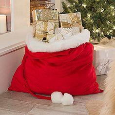 "Paula Deen Home 35.5"" Faux Fur Trimmed Holiday Santa Sack"