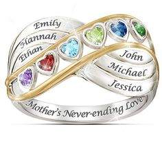 Sterling Silver Mother's Infinity Ring with heart-shaped birthstones and names: