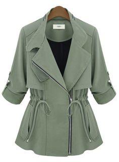 Army Green Notch Lapel Long Sleeve Drawstring Coat