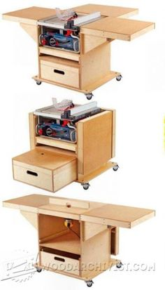 DIY Table Saw Stand With Folding Outfeed Table - Plans and VIDEOSo cool! How to build a DIY table saw stand with a folding outfeed table. This portable table saw station is simple to make Woodworking Bench Plans, Woodworking Projects Diy, Woodworking Shop, Woodworking Workshop, Popular Woodworking, Table Saw Stand, Diy Table Saw, Table Saw Workbench, Workbench Plans
