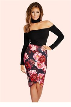 db9a7f5e3c5 Jessica Wright Bonnie Black Bandeau Choker Top Long Pencil Skirt