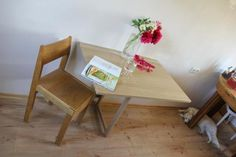 Pine-wood wall mounted drop leaf table - Fold down desk - Semi-round desk - Floating table - Side table - Space saving table