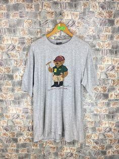 f7a516d77 POLO BEAR T shirt Large Polo Ralph Lauren Vintage 90s Polo Sport Usa Bear  Play Golf Hip Hop Sportswear Bear Gray Tee Tshirt Size L