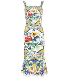 Dolce & Gabbana - Printed silk dress - Dolce & Gabbana's alluring silhouettes meet no match, and this printed silk dress is the proof. Cut close to the body for an hourglass figure and finished off with a ruffled hem, the design is adorned with the house's signature majolica motif. Team yours with a kitten-heel pump for effortless elegance. seen @ www.mytheresa.com