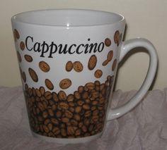 Trisa Stoneware Cappuccino Coffee Mug Cup 10 Oz Beans Rare #DH63