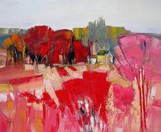 l-aubepine-rose-73x60. (Peinture), 73x60 cm par Hervé Lenouvel huile sur toile