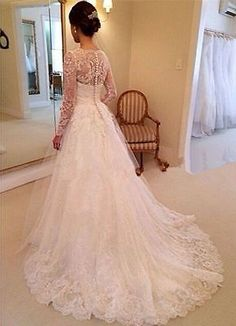 Discount  White/Ivory Long-sleeve Lace Wedding dress Bridal gown Custom size