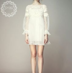 Lace With Sleeves Short Wedding Dress,Lace Short Dress,Reception Dress,Party Dress,Embroidered Dress,Bridal Lace Dress,Bridesmaid Dress on Etsy, $171.75
