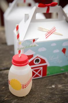 Cute way to serve drinks and food at a party!