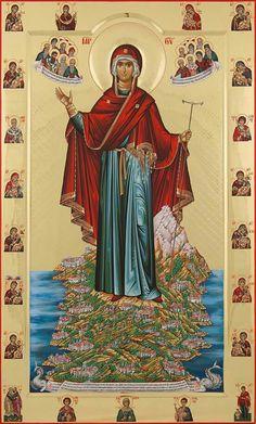 "Mother of God ""Protector of Mount Athos"" Orthodox Icon Byzantine Icons, Byzantine Art, Religious Icons, Religious Art, Famous Freemasons, Greek Icons, Lives Of The Saints, Vintage Holy Cards, Orthodox Christianity"