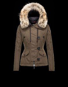 moncler kaufen deutschland, Moncler AYROLLE Damen Anorak Für Sie Militärgrün Polyester/Baumwolle/Racoon