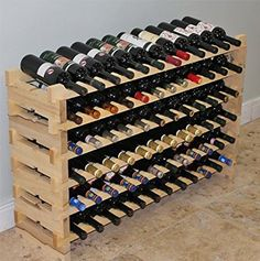 Stackable Modular Wine Rack Stackable Storage Stand Display Shelves, Wobble-Free, Pine wood, (Natural, 12 X 6 Rows Slots)) Wooden Wine Holder, Wood Wine Racks, Wine Rack Wall, Wood Display, Display Shelves, Stackable Wine Racks, Iron Wine Rack, Wine Rack Plans, Wood Storage Cabinets