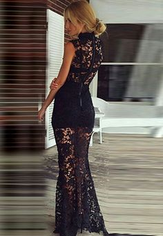 Sexy Hollow Out Lace Sleeveless Floor-length Evening Dress