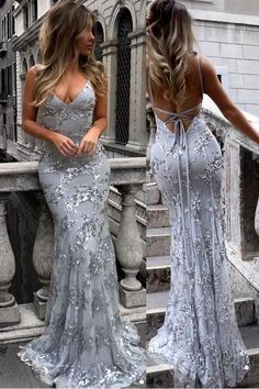 Silver Strap V-neck Mermaid Sparkly Tulle Evening Dress,Long Prom Gown – Simibridaldress