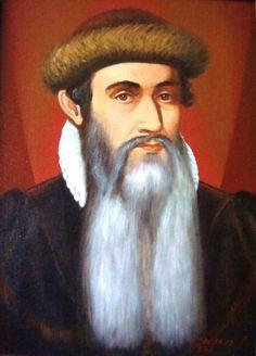 Dit is Johannes Gutenberg, hij leefde van 1397 tot 1468 hij is een uitvinder hij is ook degene die voor het eerst met losse letters schrijft dat kan de opkomende BOEKDRUKKUNST goed gebruiken.