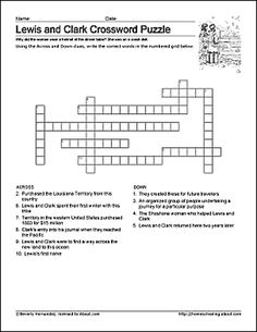 Free Lewis and Clark Printable Worksheets and Coloring Pages: Lewis and Clark Crossword Puzzle