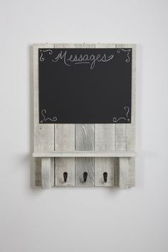 Message Center with chalkboard, shelf, and hooks made from reclaimed wood!