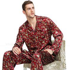 Mens Silk Satin Pajamas Pyjamas Set Sleepwear Plus Size_Fits All Seasons Mens Silk Pajamas, Satin Pajamas, Pyjamas, Men's Fashion, Smoking Jacket, Silk Sleepwear, Cute Pajamas, Silk Satin, Pajama Set