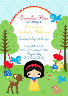 Snow White DIY Party Printables Collection- Birthday Invitations 5x7 by JandGDesignStudio on Etsy https://www.etsy.com/listing/126964097/snow-white-diy-party-printables